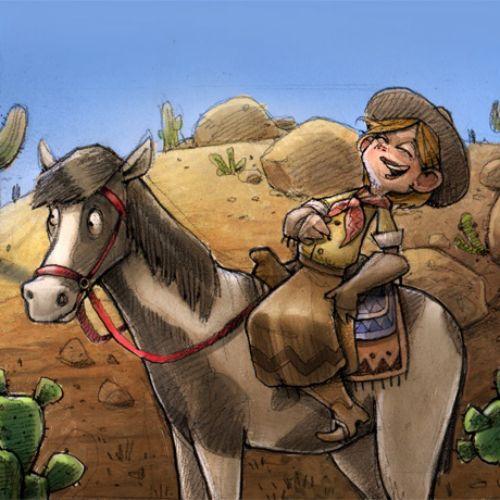 Children cowboy on horse