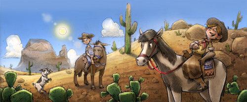 Cowboy enfants à cheval