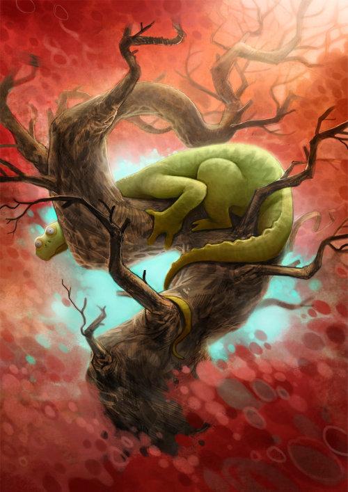 Enfants dinosaure sur arbre