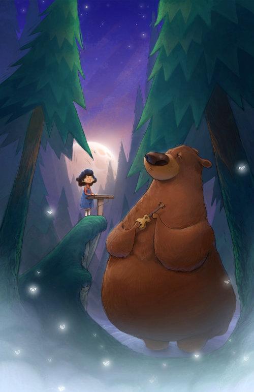 Ours d'animation et la fille