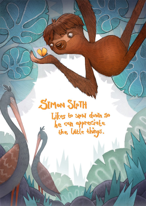 Illustration d'animaux enfants de singe et grue