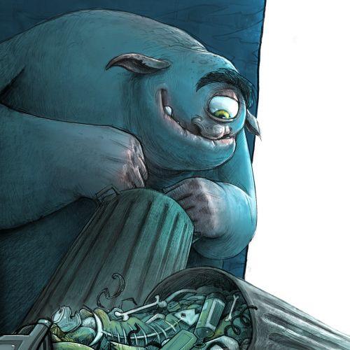 Digital illustration of one eye monster