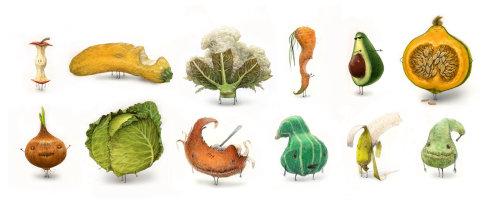 Ilustración de personaje de verduras