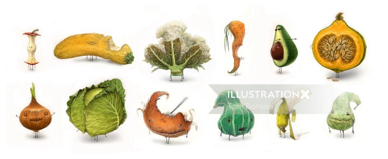 Vegetable character illustration