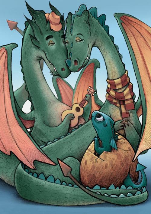 Illustration fantastique de dragons heureux