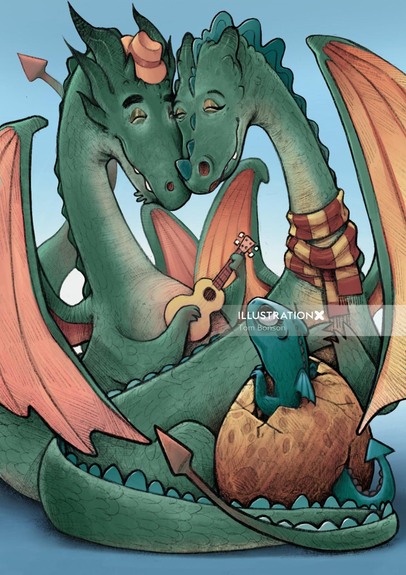 Fantasy illustration of Happy dragons