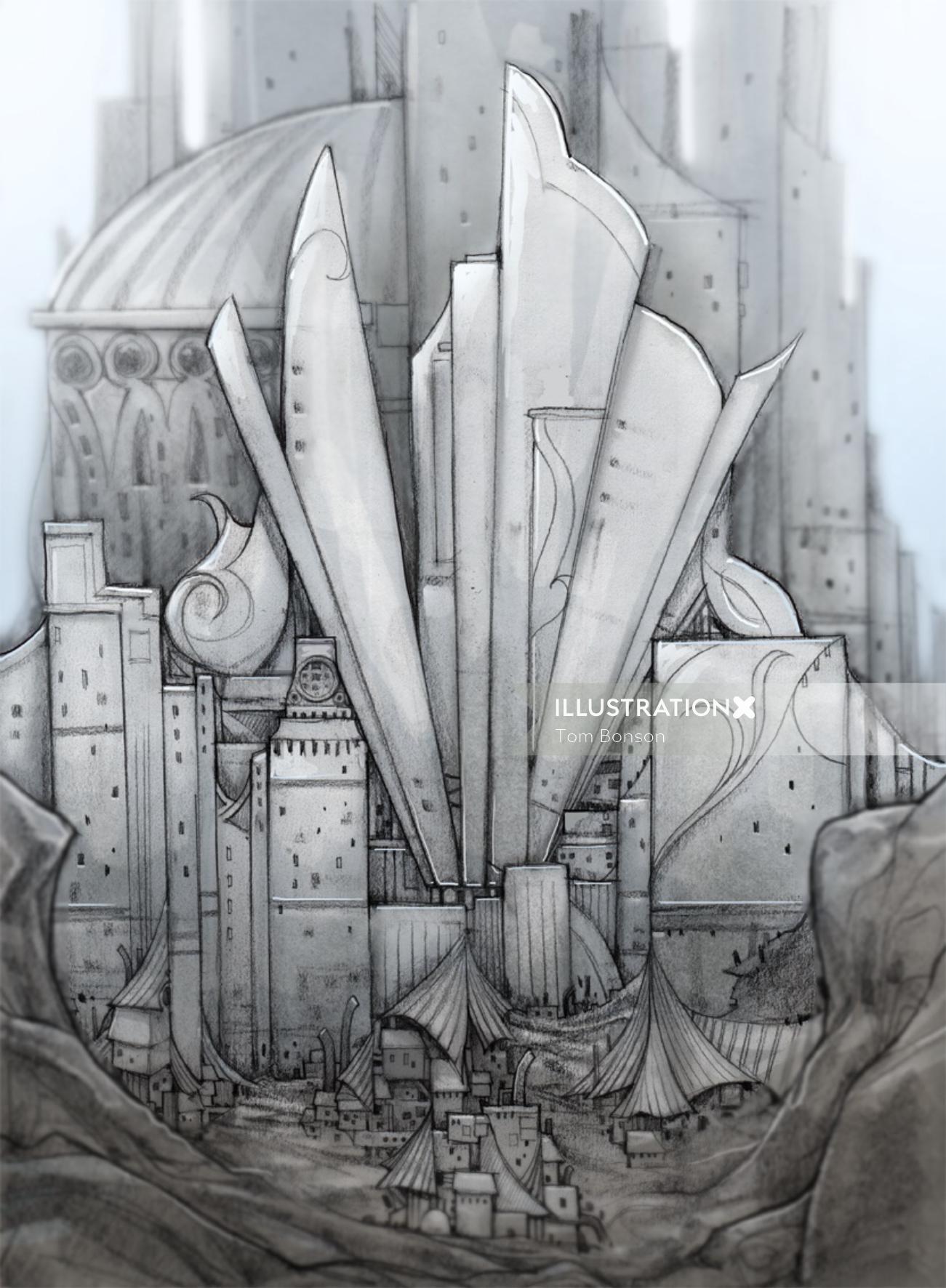 Gaming illustration of building