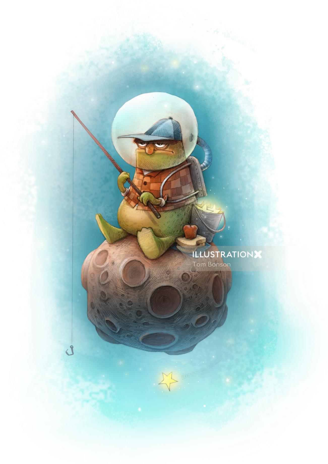 Gaming illustration of man fishing