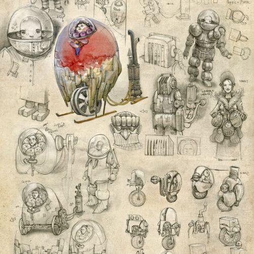 Digital illustration of machines