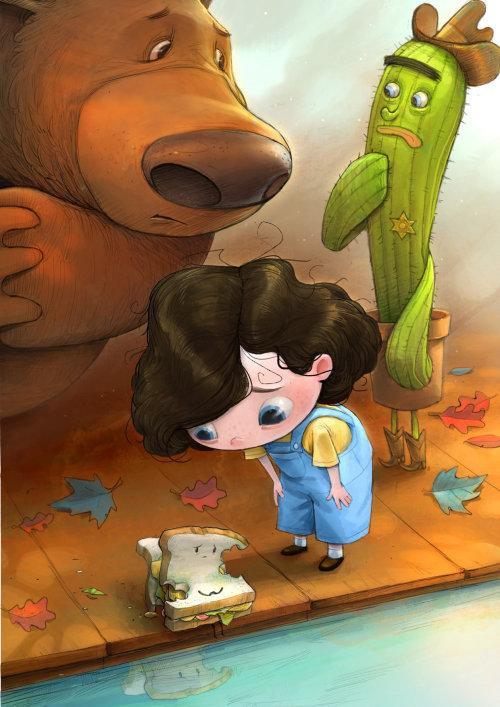 Illustration d'enfants d'ours et de fille