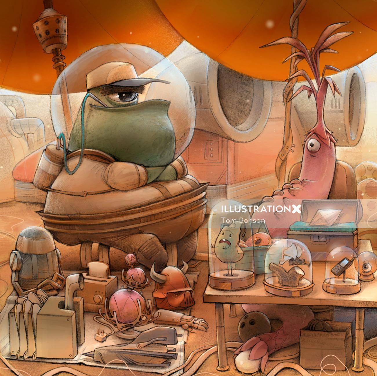 Cartoon & Humor alien city