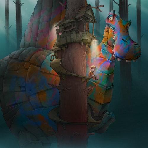 Couverture de livre garçon sur cabane dans les arbres