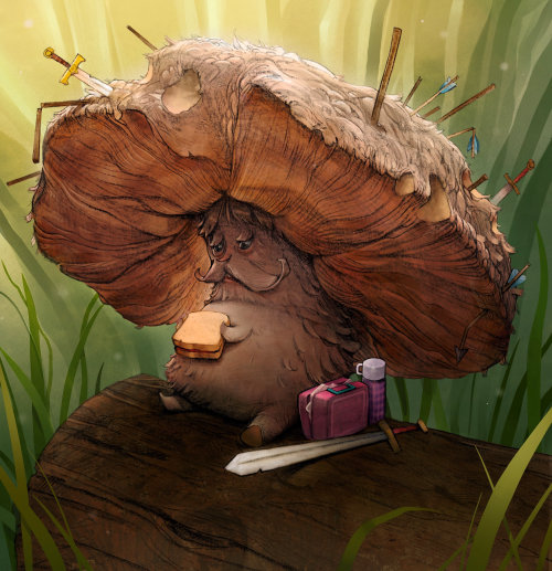 Character Design of tree eating sandwitch