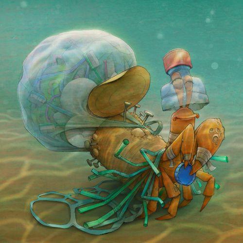 Character design of scrap crab