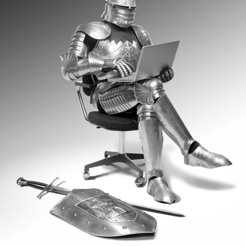 Computer Generated knight sitting in chair
