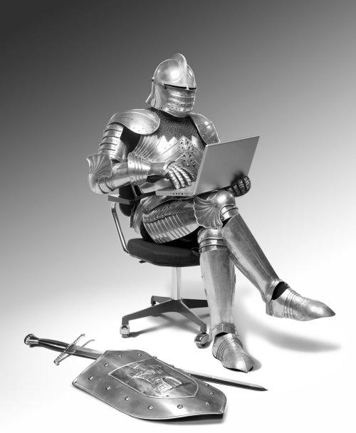 Généré par ordinateur chevalier assis dans une chaise