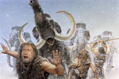 Illustration photoréaliste de mammut jagd
