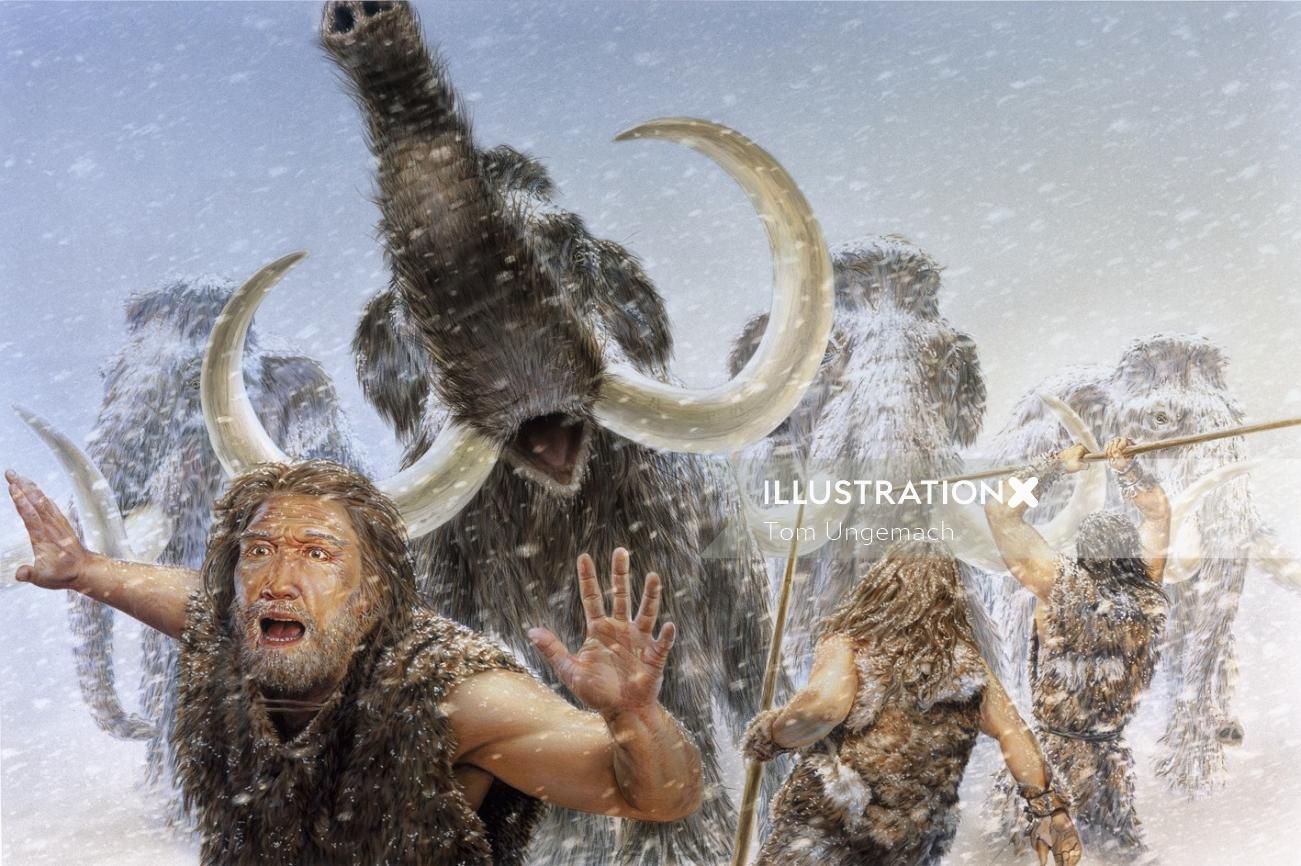 Photorealistic illustration of mammut jagd