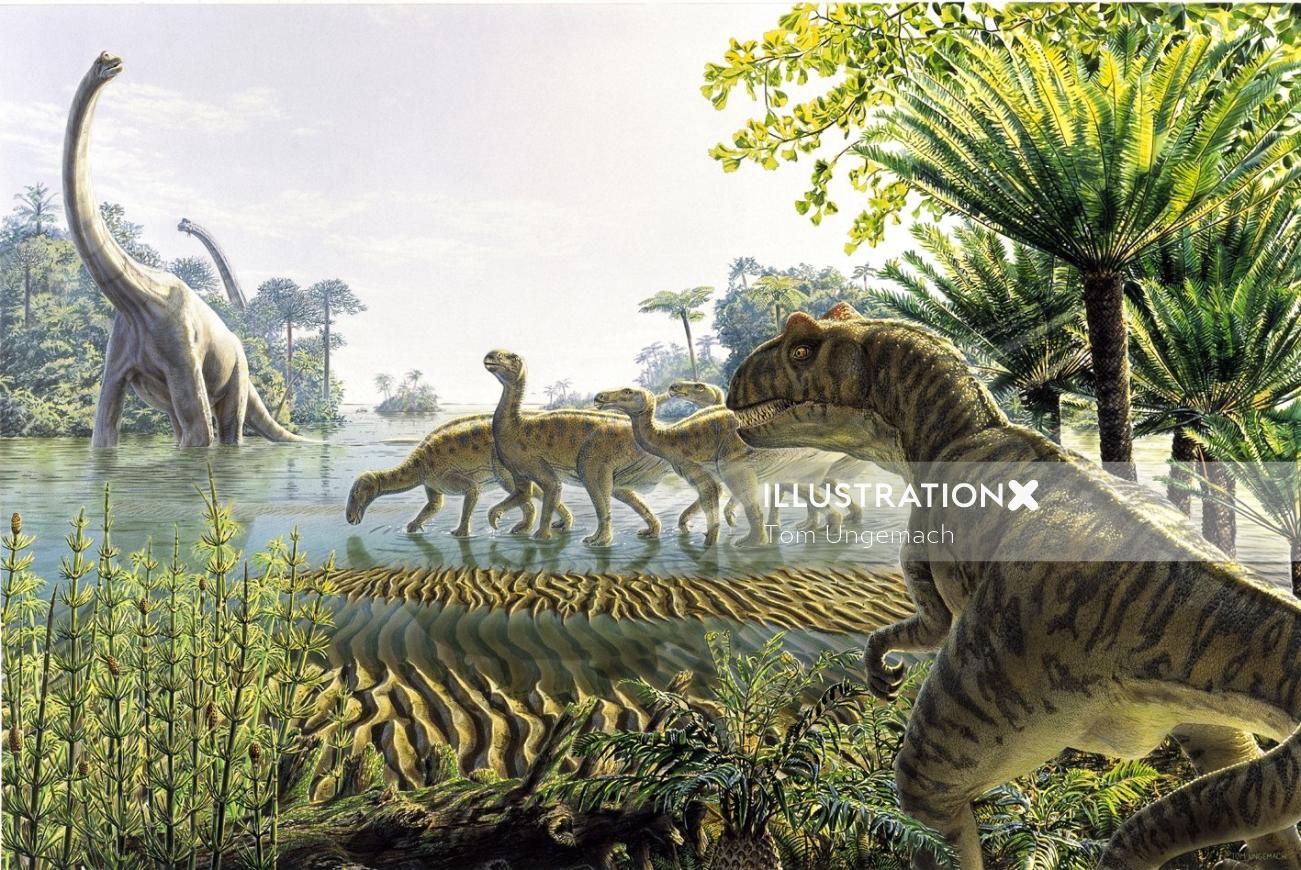 Photorealistic illustration of Dinosaurier