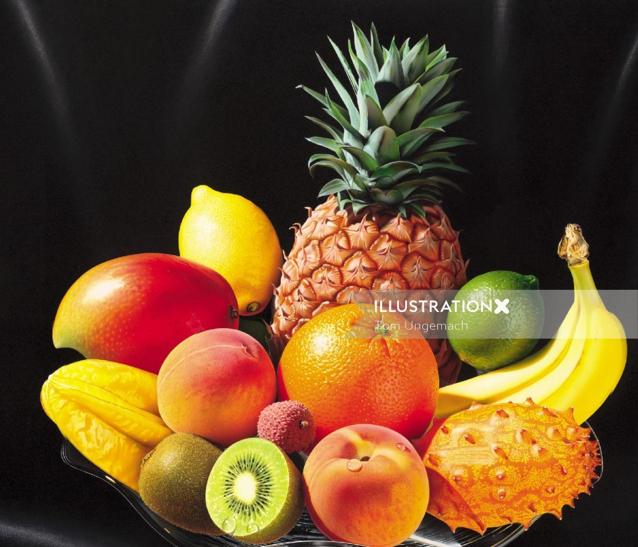 Fruits photorealistic illustration
