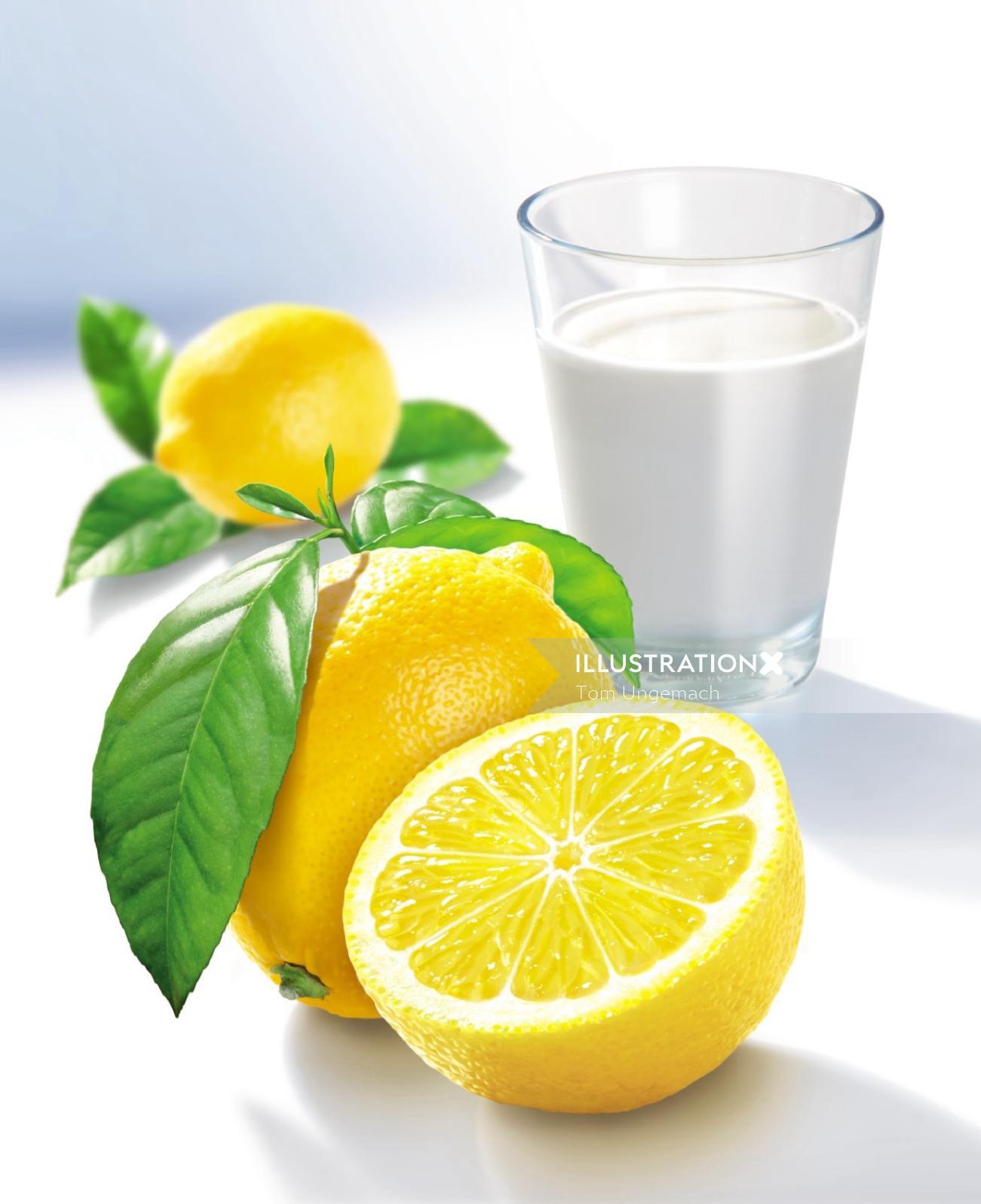 Photorealistic illustration of lemons