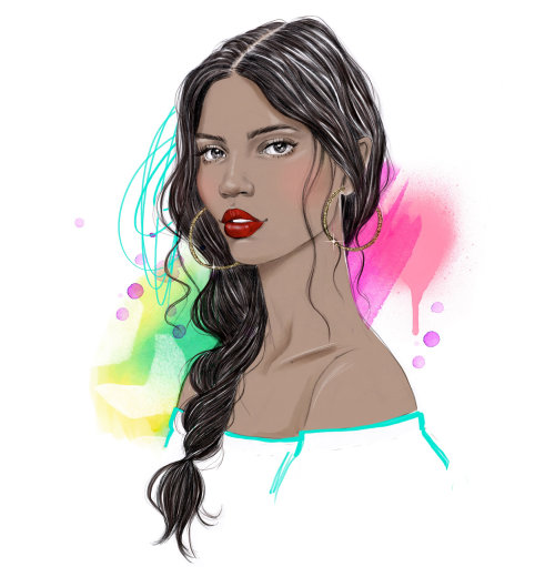 Portraiture of black beauty with long hair