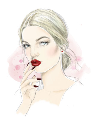 Portrait artwork of a young woman with lipstick