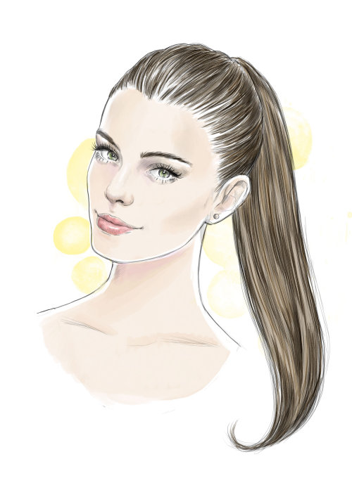 fashion portrait of beautiful woman with the ponytail