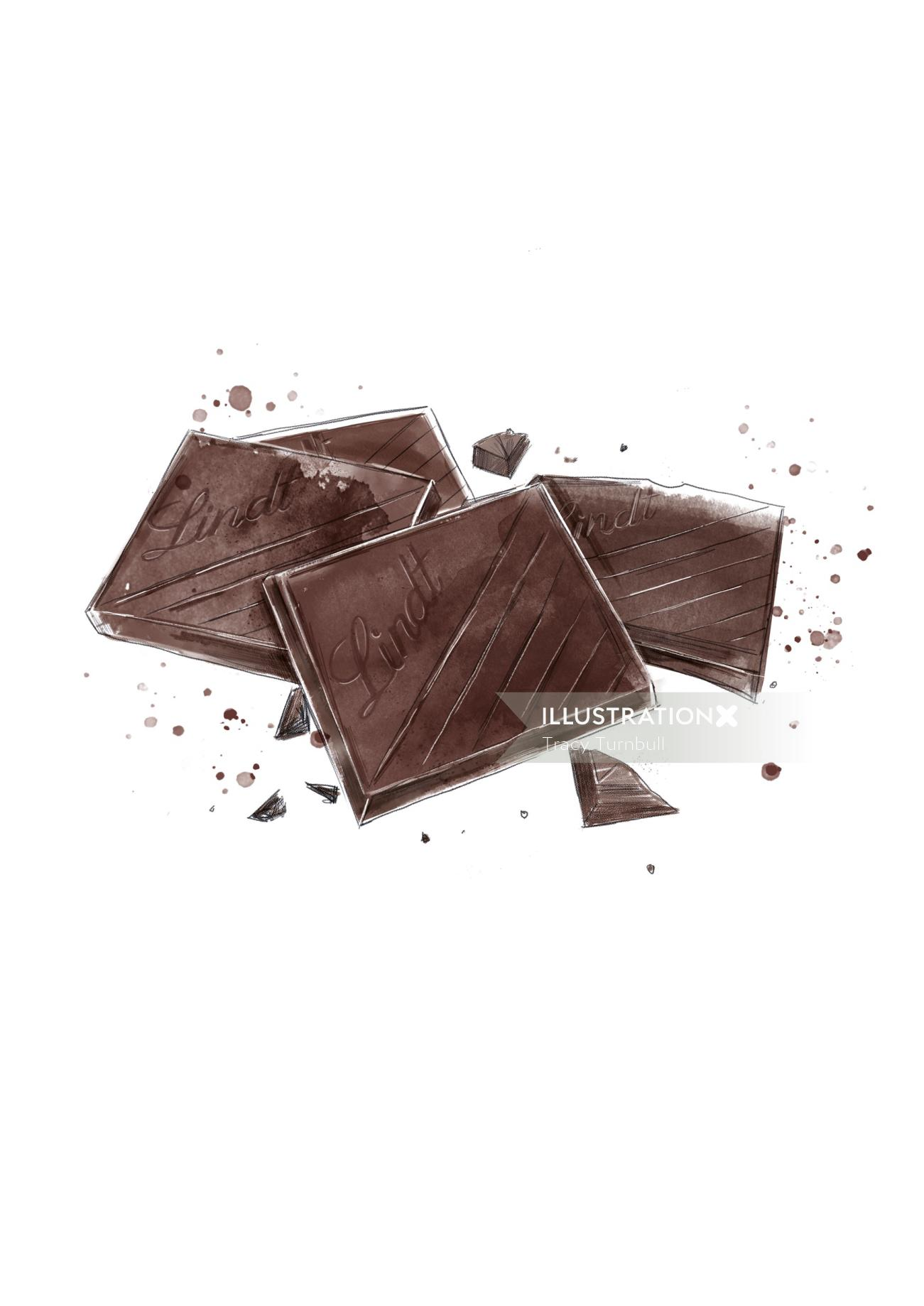 Illustration of Lindt Excellence chocolate pieces