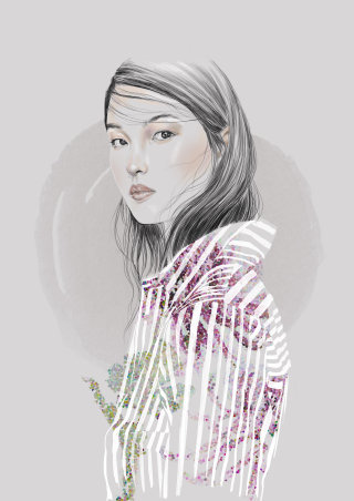 Portrait of a beautiful woman,  Line and Colour art