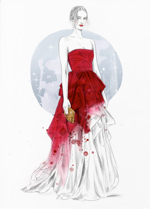Fashion illustration of red gown