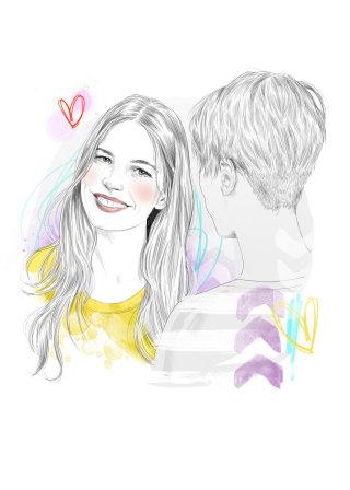 Get your flirt on editorial illustration