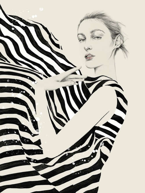 Fashion woman with zebra dress