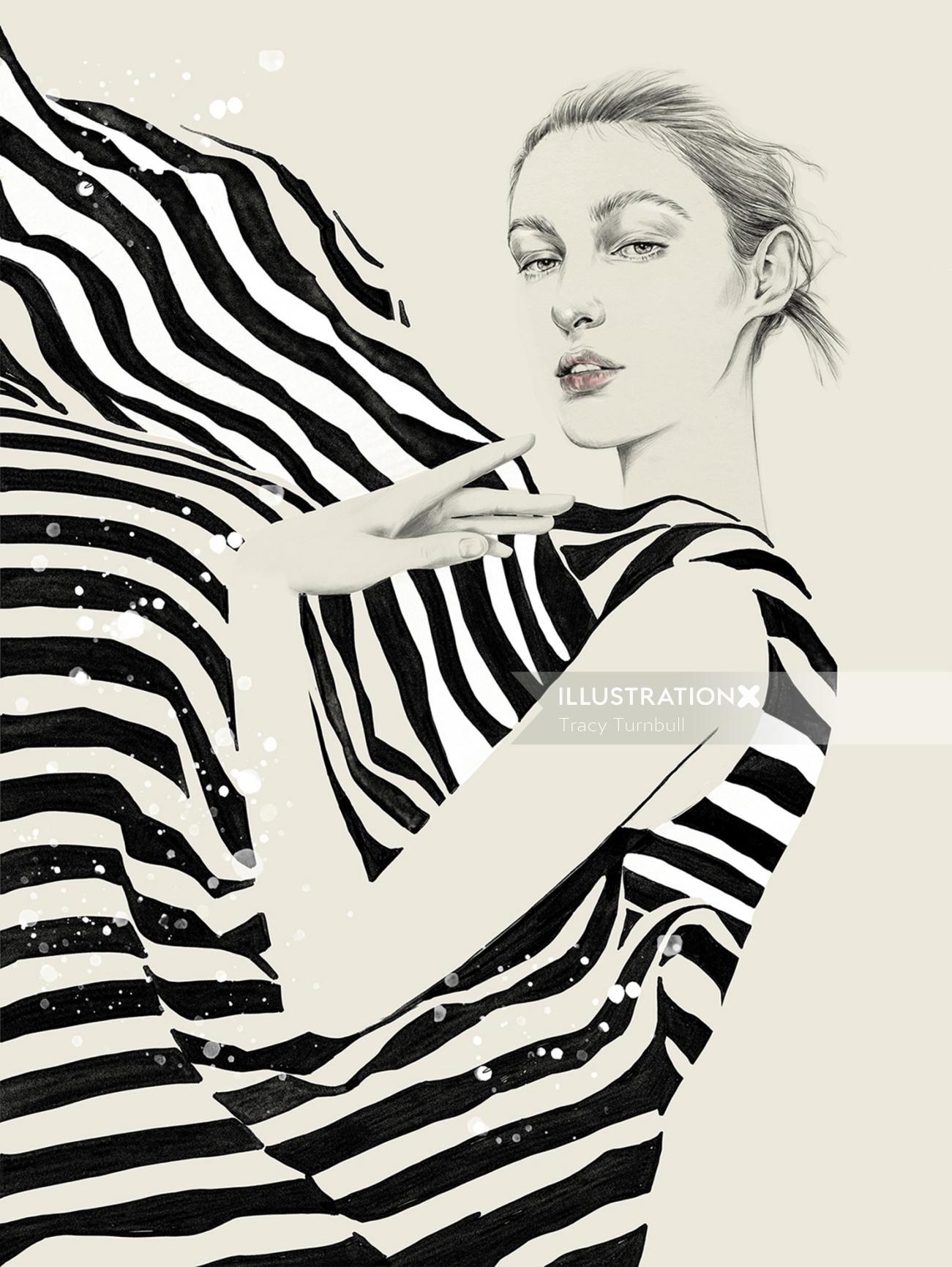 Fashion woman with zebra dress