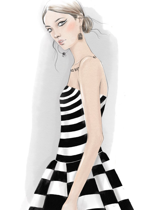Drawing of Dior Couture 18 collection