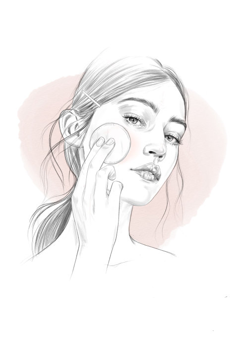 Depicting of girl applying beauty product