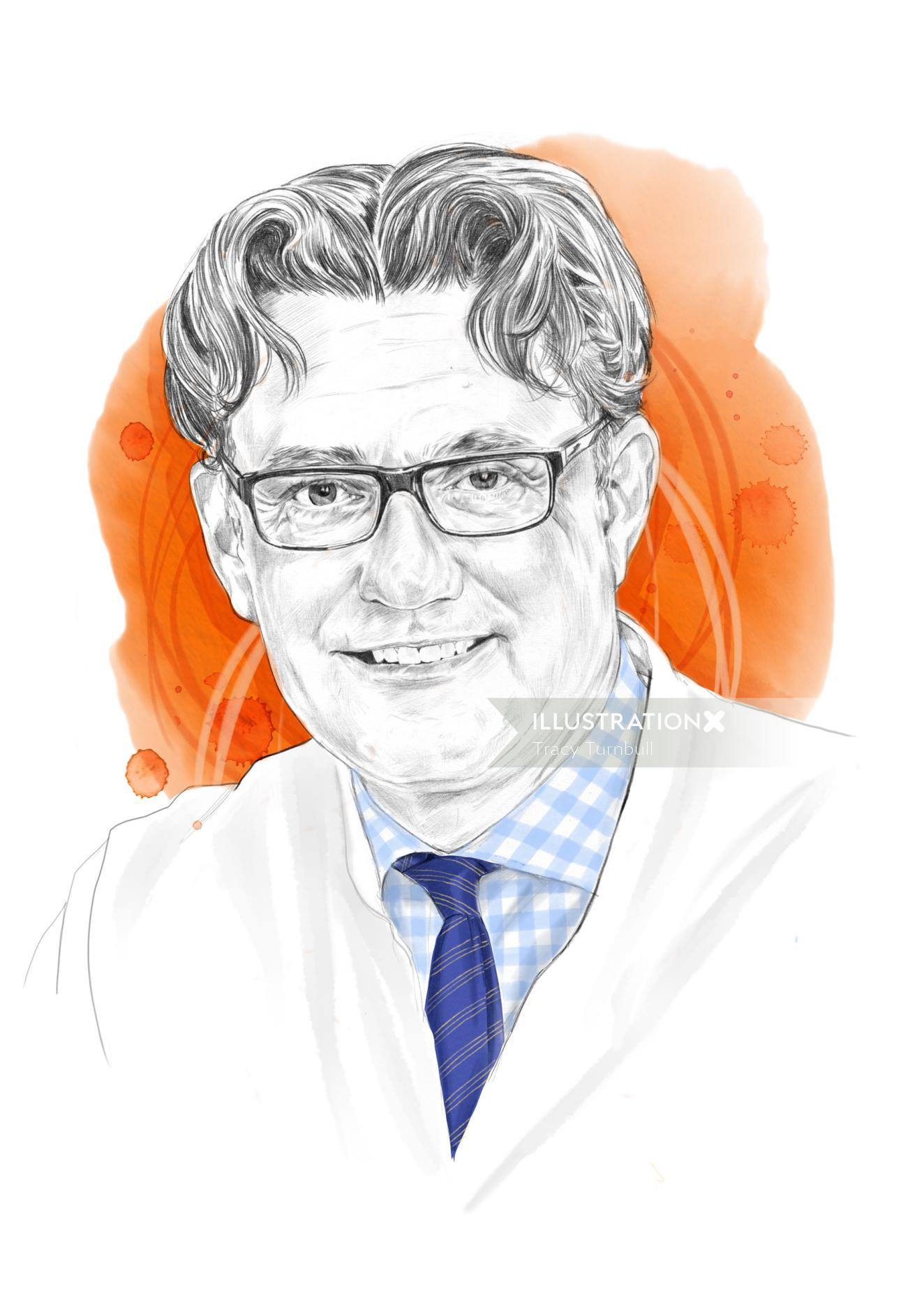 Editorial portrait illustration for Praxis Industry Magazine