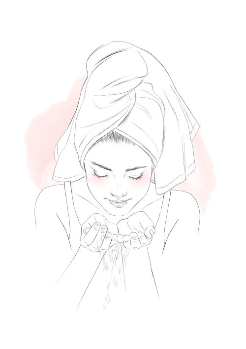 Line art of a woman cleaning her face