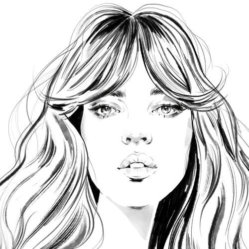 Black and White illustration of woman face