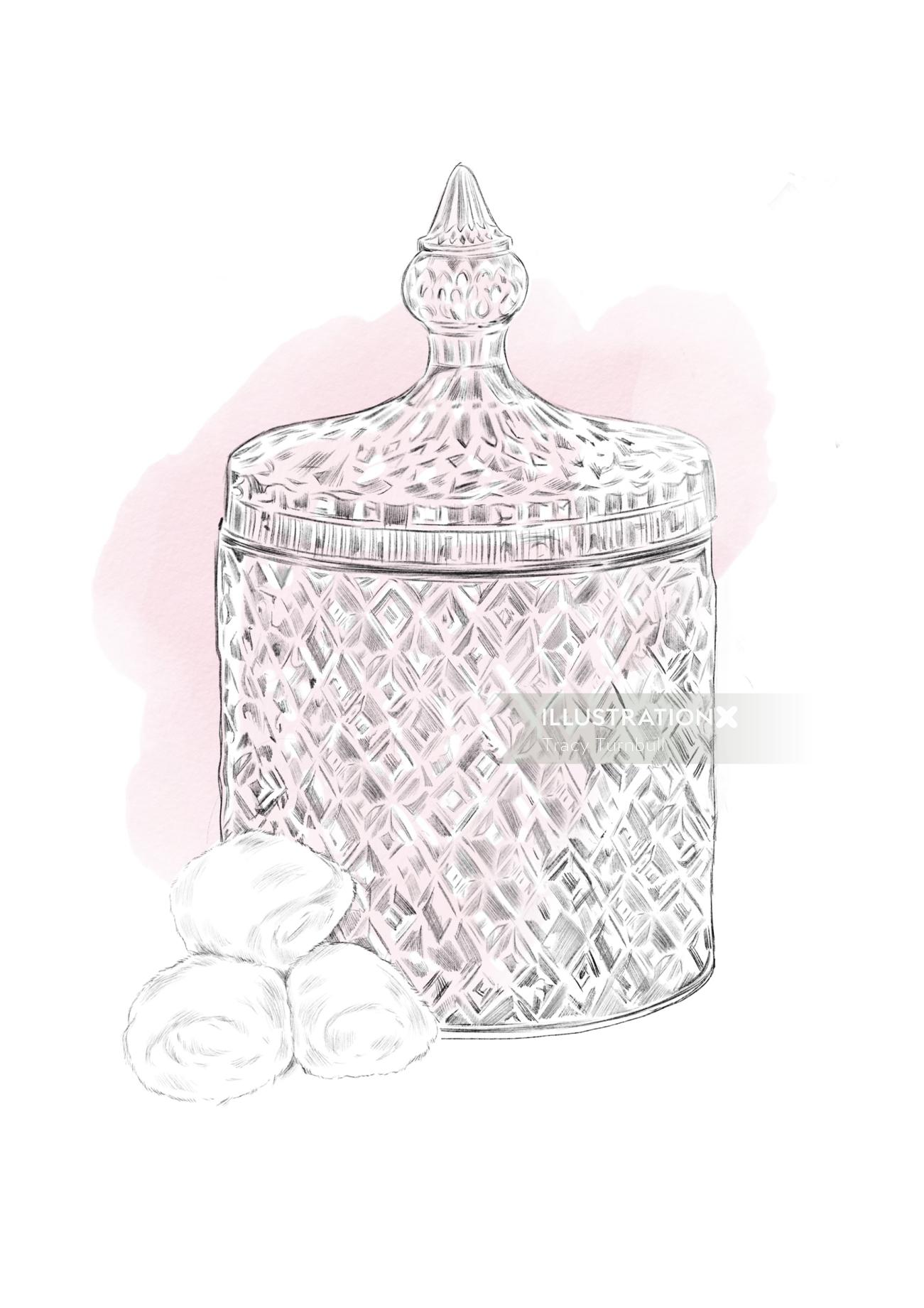 illustration of crystal jar