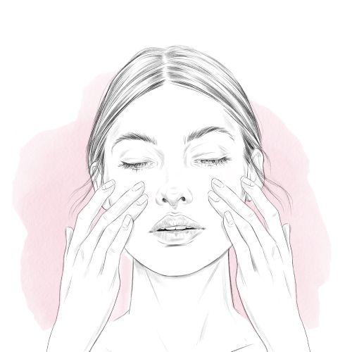 Fashion illustration of face massage