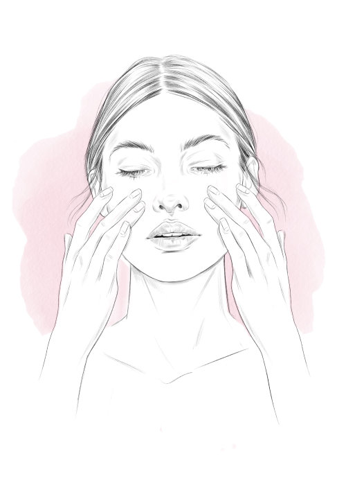 Fashion illustration of face massage