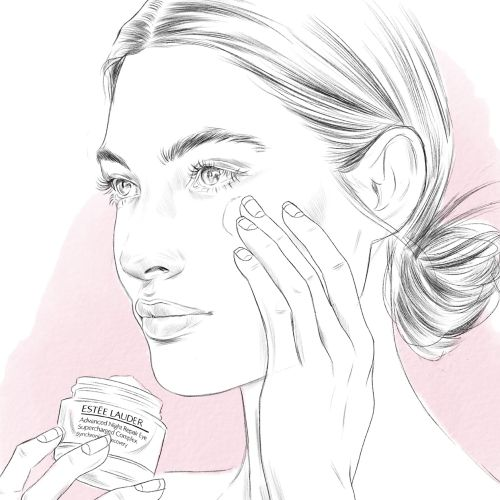 Line drawing as part of Estee Lauder Promotion