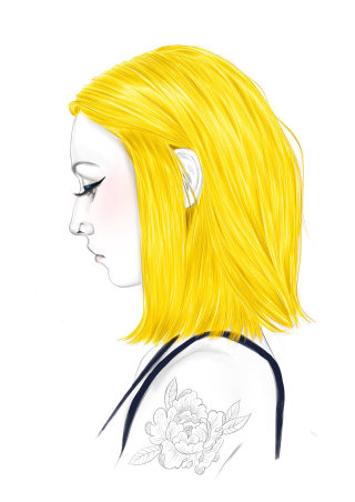 Realistic art of golden hair colour