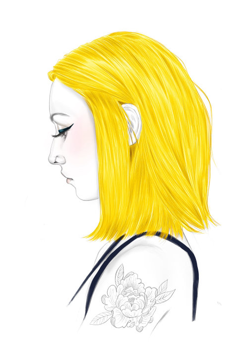 Ilustración editorial de color de cabello dorado para wella Professional