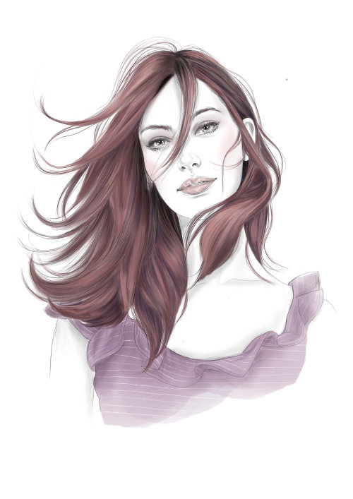 Ilustración editorial de color de cabello para wella Professional