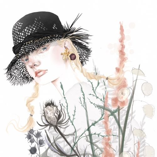 Fashion illustration of Unia Pakhomova for Dior spring summer