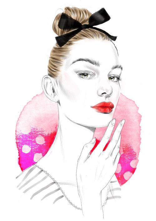 Editorial illustration on skin care for Santé Magazine