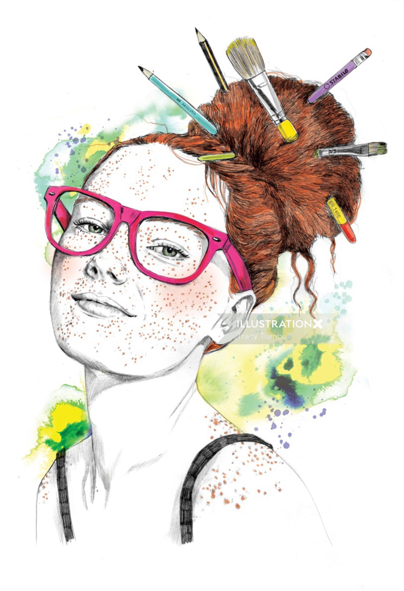 painterly artwork of a girl with brushes in hair