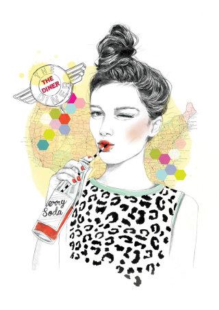 woman drinking soda with straw
